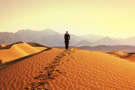 gobi desert: Hike in desert Stock Photo