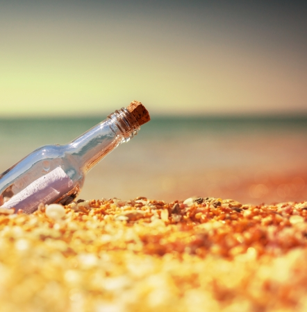 corked: Message in bottle Stock Photo