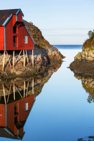 rorbu: Red wooden fishing cabins in   Norway