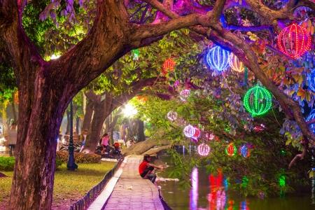 Lights in Hanoi garden Stock Photo