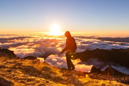 Pico Ruivo and Pico do Areeiro mountain peaks in  Madeira, Portugal Stock Photo