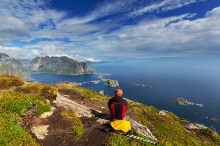 lofoten: hike in Lofoten,Norway Stock Photo