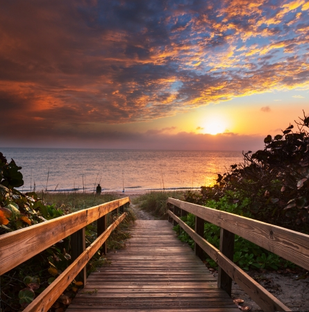 boardwalk on beach photo