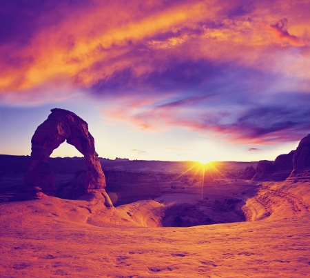 Delicate Arch in USA at sunset