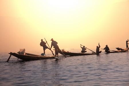 inle: Boats on Inle Lake,Myanmar