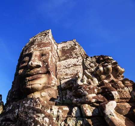 Stone face at Bayon Temple at Angkor Wat,Cambodia photo