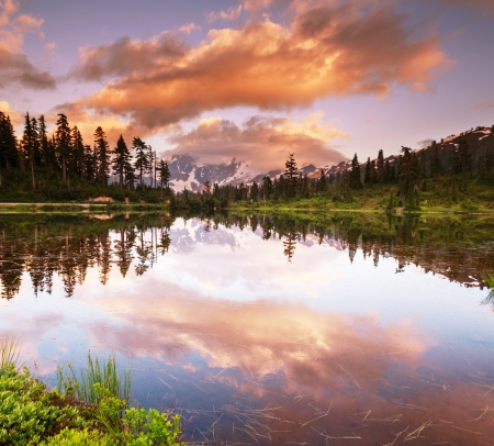 Picture Lake and Mount Shuksan,Washington photo