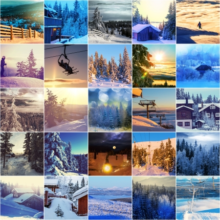 winter vacation collage photo