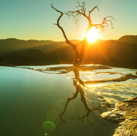 Hierve 엘 아구아, 멕시코의 오악 사카 자연 바위 형성 스톡 콘텐츠 - 25238385