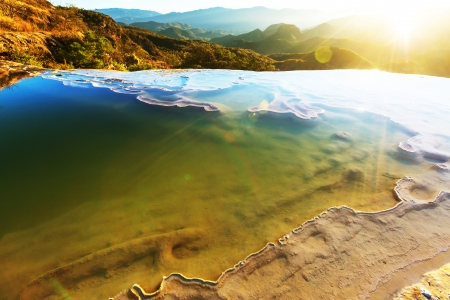 Hierve el Agua, natural rock formations in the Mexican state of Oaxaca photo