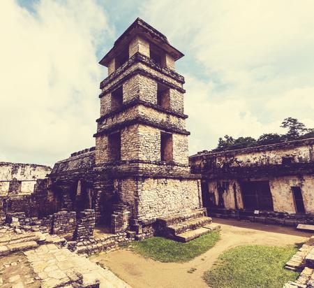 mesoamerica: Palenque pyramid in Mexico Stock Photo
