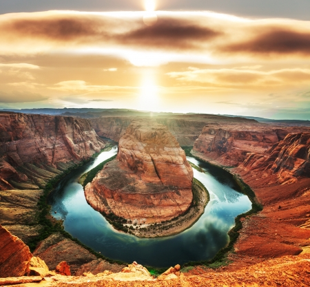 plateau point: Horse Shoe Bend Stock Photo