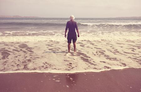 beach hunk: Man on oceanic beach