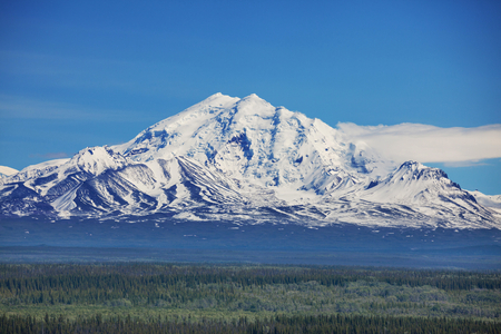 capped: Mountains  in Wrangell-St  Elias National Park, Alaska