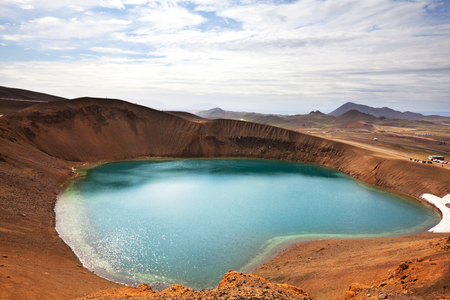 crater highlands: geothermal lake ,Askja ,Iceland