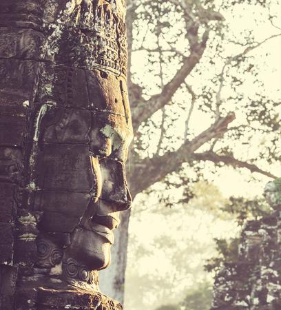 Stone face at Bayon Temple at Angkor Wat,Cambodia photo