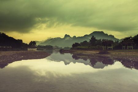 Song river at Vang Vieng, Laos photo