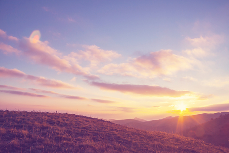 sunset in prairie Imagens