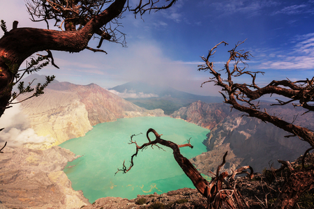 crater lake: Lake in a crater Volcano Ijen, Java,Indonesia Stock Photo
