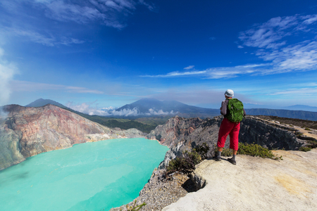 Lake in a crater Volcano Ijen, Java,Indonesia Stok Fotoğraf