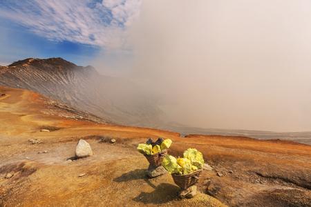 sulfur mining industry in Ijen volcano, Java,Indonesia