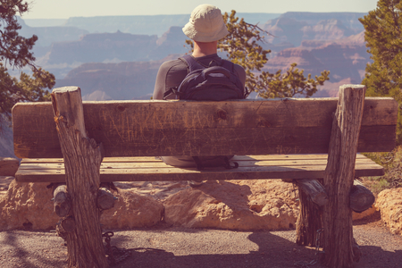 Man in Grand Canyon photo