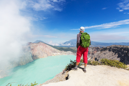 Lake in a crater Volcano Ijen, Java,Indonesia photo