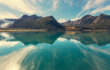 paisagem: Svartisen Glacier, na Noruega Banco de Imagens