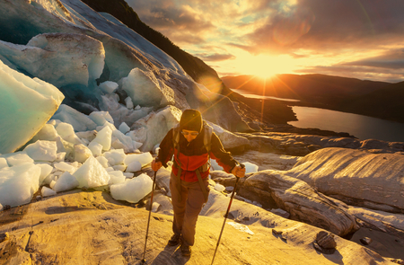 hike in Norway mountains, Svartisen Glacier photo