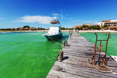 beached: Fishing boats in Mexico Stock Photo