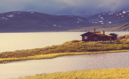 fishing cabin: wooden fishing cabin in   Norway Stock Photo