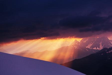 altitude: Ushba peak, Caucasus Mountains  Svaneti Stock Photo