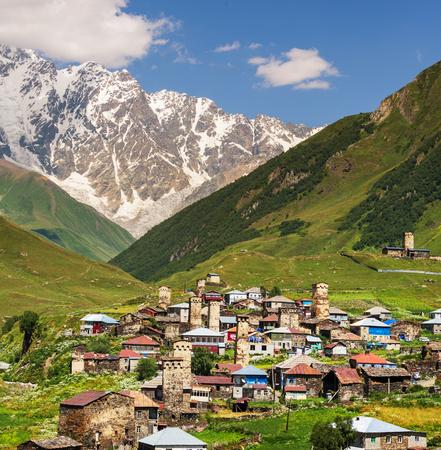 svaneti: Ushguli pueblo del C�ucaso, Upper Svaneti Foto de archivo