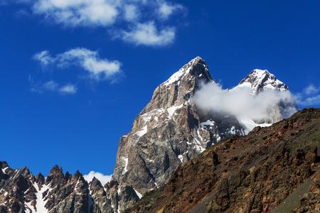svaneti: Ushba peak, Caucasus Mountains  Svaneti Stock Photo