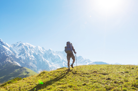 caucasus: Backpacker in mountains