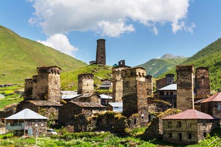 svaneti: Ushguli village. Caucasus, Upper Svaneti  Stock Photo