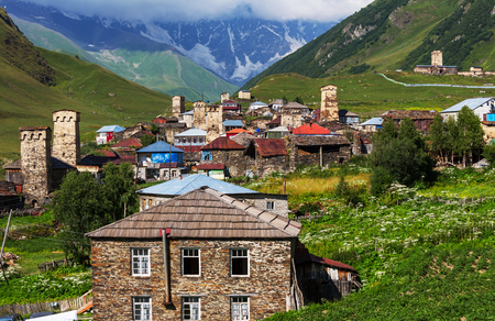 swanetia: Ushguli village. Caucasus, Upper Svaneti - UNESCO World Heritage Site. Georgia.