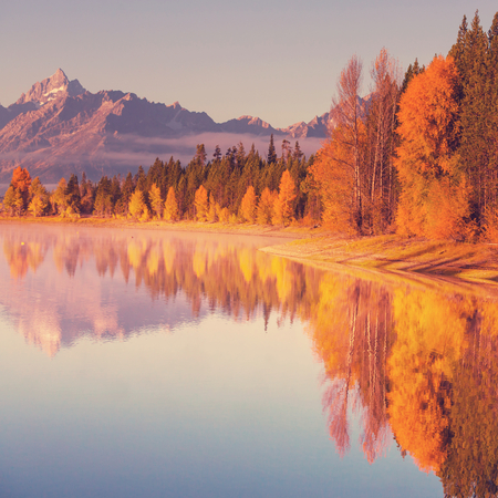 Autumn in Grand Teton with  toning effect photo