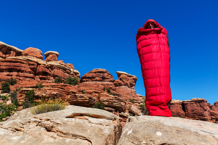bivouac: Man in sleeping bag