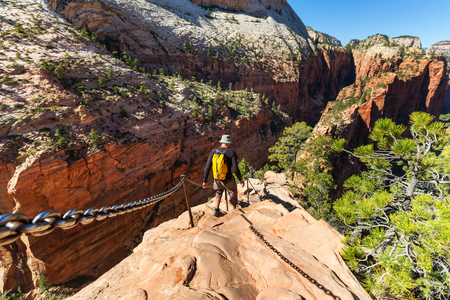 zion: Hike in Zion national park Stock Photo