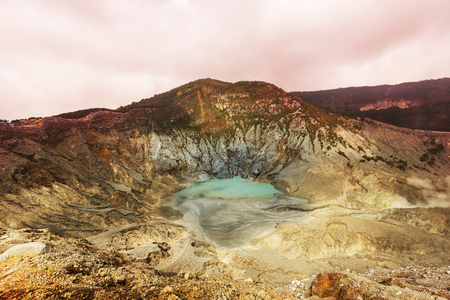 vulcanology: Crater lake of Tangkuban Perahu, Bandung, West Java, Indonesia.