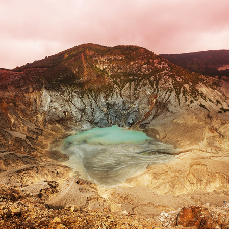 crater lake: Crater lake of Tangkuban Perahu, Bandung, West Java, Indonesia.