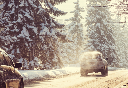 Winter road in city photo