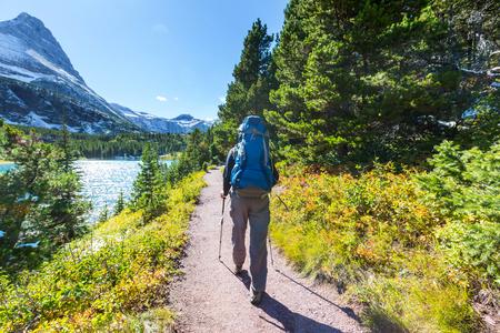 Hike in Glacier National Park, Montana Stock Photo