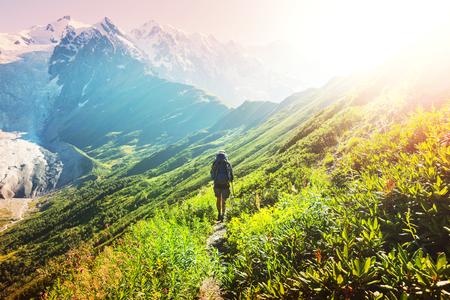 svaneti: Hike in Svaneti mountains Stock Photo