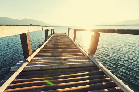 Boardwalk on beach photo