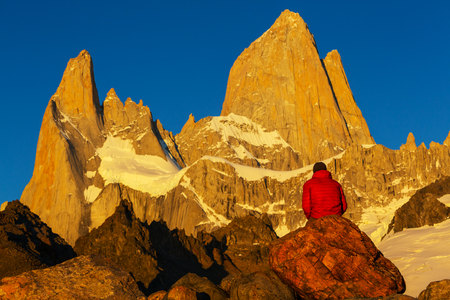 glaciares: Mount Fitz Roy  in Los Glaciares National Park, Argentina Stock Photo
