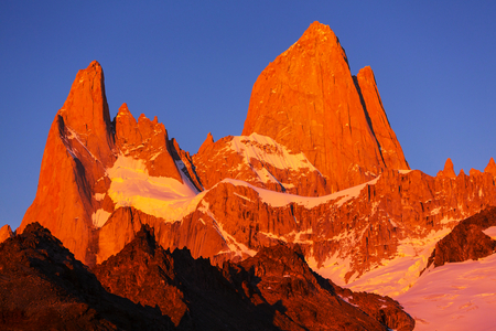 chalten: Mount Fitz Roy  in Los Glaciares National Park, Argentina Stock Photo