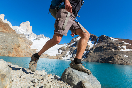 el chalten: Hike in Patagonia Stock Photo