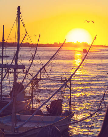 Fishing boats in Mexico Imagens